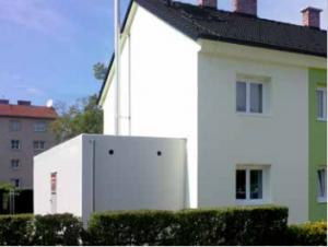 Projekt Heizbaer Hargassner Heizcontainer Aussenansicht Gloggnitz Wohnhausanlage